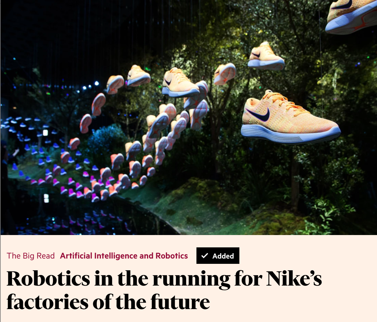Nike looks towards Robots to reduce costs