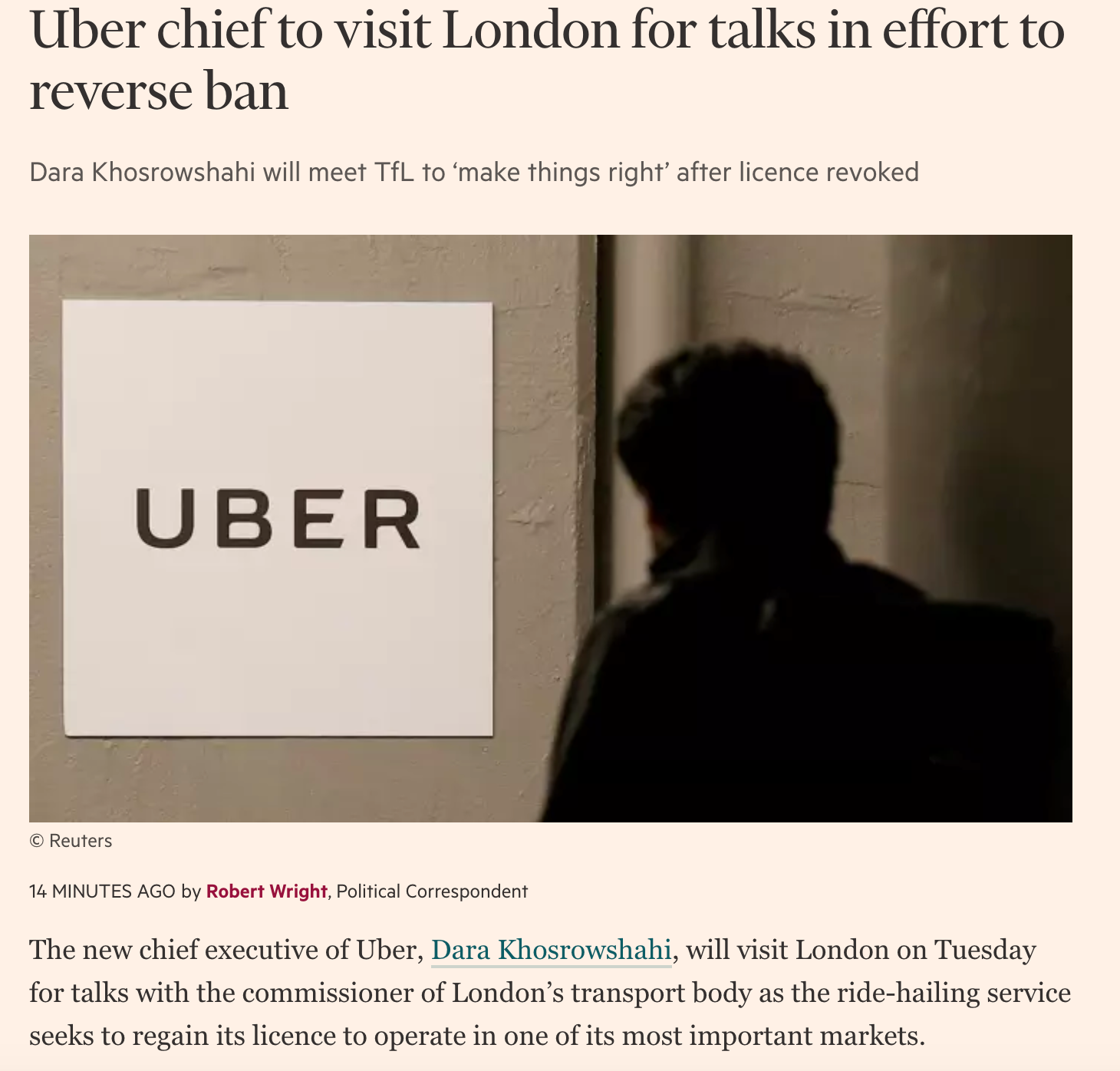 Uber Chief will visit London after all