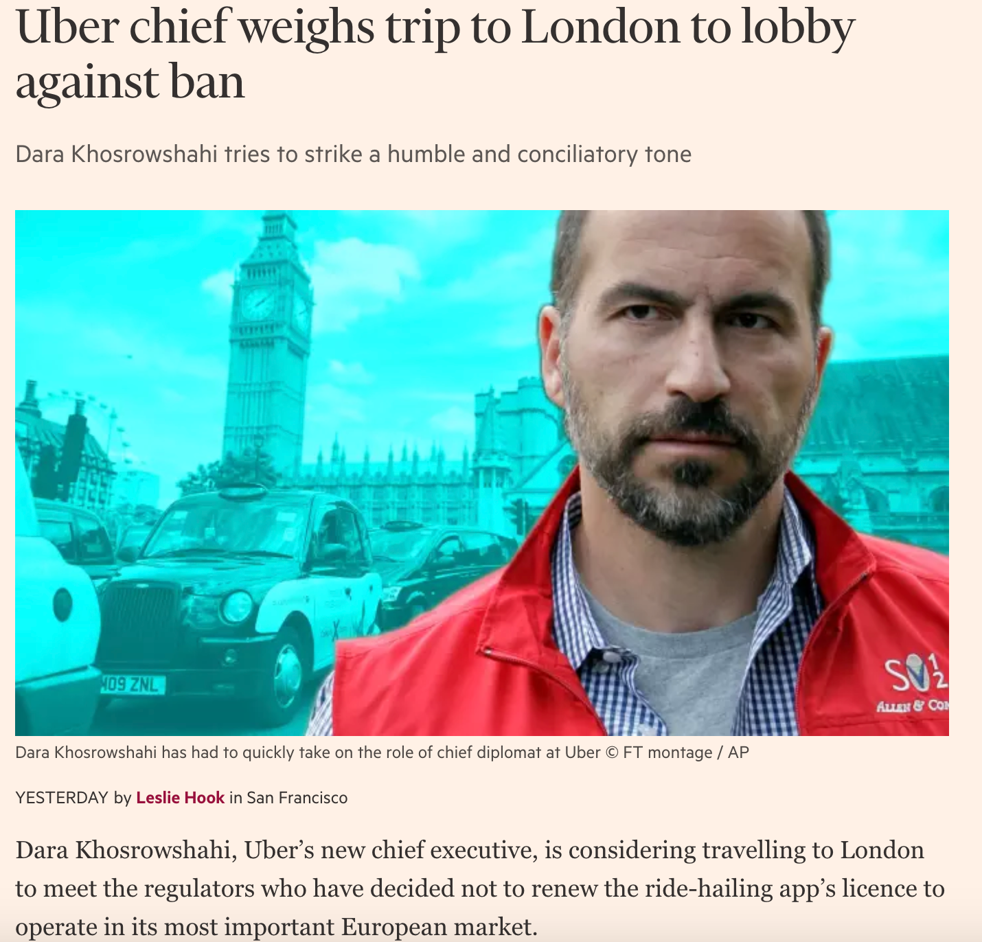 "Uber CEO ""weighs up"" trip to London"